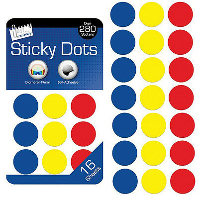 288pcs of 19mm Round Self Adhesive Label Stickers Coloured Circle Sticky Dots