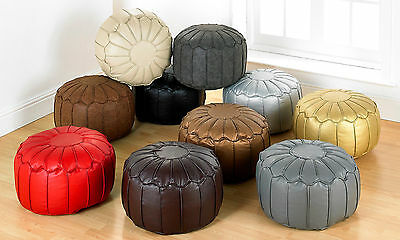 Luxury Quality Faux Leather Piped Edge Moroccan Pouffe Footstool Filled Seats