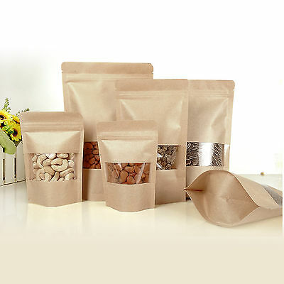 NEW 20PCS Kraft Paper Stand Up Bag Seal Packaging Window Sealable Food Pouch