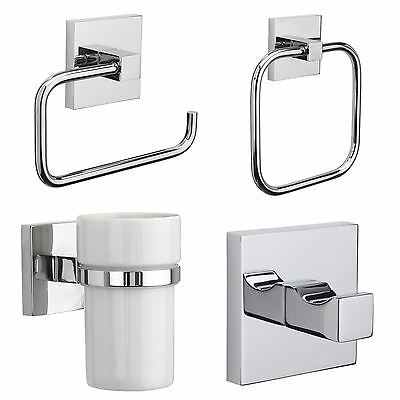 Croydex Brompton Flexi-Fix Chrome Wall Mounted X Plate Bathroom Accessories Set