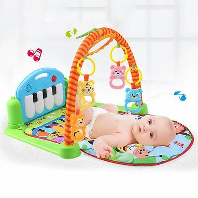Musical Baby Activity Playmat Gym Animal Toy Soft Play Mat Piano Tummy Time AU
