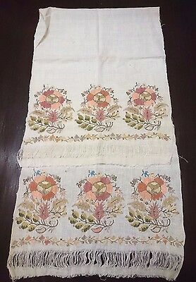 Antique  Embroidered Ottoman Towel Metallic Silver 19th century.