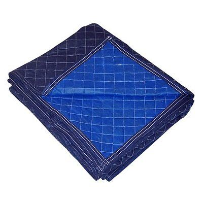 """UBOXES 72"""" x 80"""" Economy Moving Blankets, 12 Pack, Professional Quilted Blue /"""
