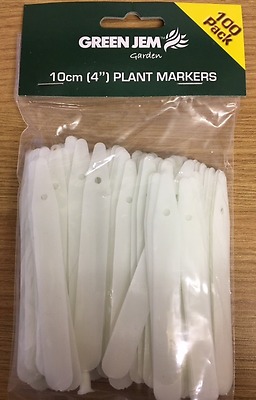 "100 X 4"" White Plastic Plant Garden Stick Labels Seed Tray Marker 10Cm"