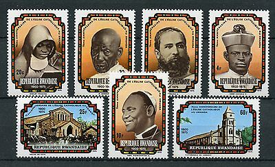Rwanda 1976 MNH Catholic Church 75th Anniv 7v Set Churches Religion Stamps