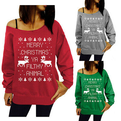 Womens Lady Print Knitted Christmas T-Shirt Pullover Sweatshirt Tops Blouse New