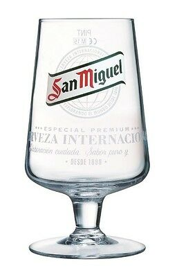 Official San Miguel Chalice Pint Beer Glass 20oz - Box of 6
