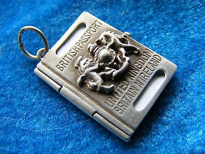 Vintage Sterling Silver Charm Brittish Passport Opens