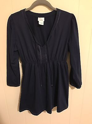Oh Baby by Motherhood Navy Empire Waist 3/4 Sleeve Maternity Top Size LARGE