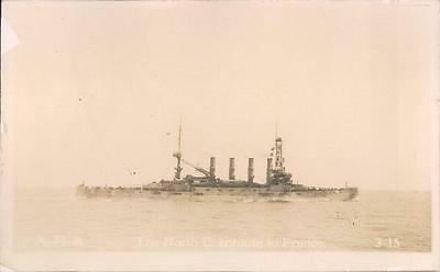USS North Carolina 1915 RPPC The North C. enroute to France, US ACR-12  #703