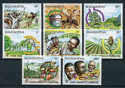 Rwanda 1982 MNH FAO World Food Day 8v Set Bees Cows Fish Plants Trees Stamps