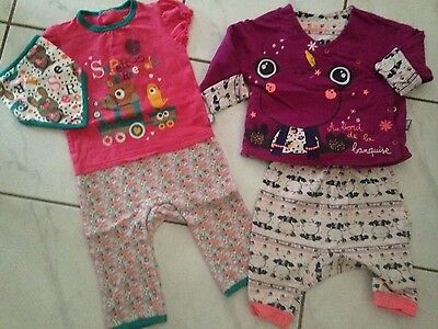 Lot petit beguin 2 pyjamas 12 mois fille