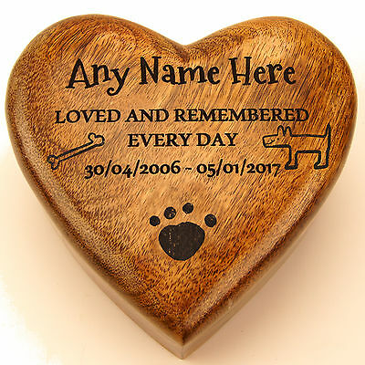 Heart Shaped Wood Pet Box Pet Urn Dog Urn Cat Urn Cremation Memorial Engraved