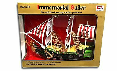 Kids Children Pirate Ship Flag Game Figur PlaySet Boys Toy Line Pull Pirate Ship