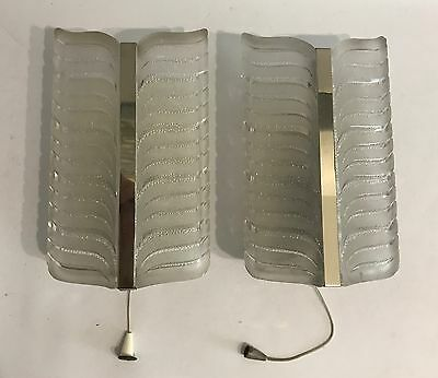 2x 70er Design Glas Wandlampe Space Age 70s Sconce Ice Glass Chrom Leaf Blatt