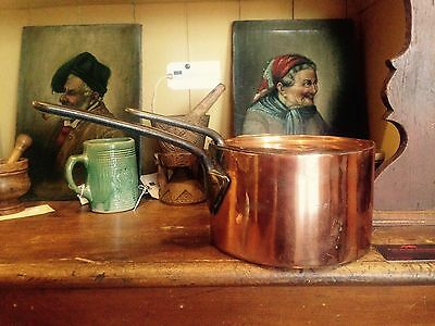 Beautiful Handmade English Antique Copper Pan & Lid With Cast Iron Handles C1860