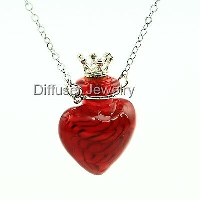 Heart Aromatherapy Essential Oil Perfume Diffuser Necklace Vial Necklace Jewelry
