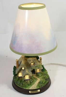 Thomas Kinkade Lamplight Everett's Cottage Lamp with Original Shade - Excellent