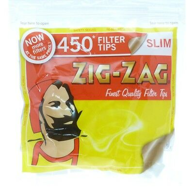 1, 2, 5 or 10  x  450 Zig Zag Slim Cigarette Filter Tips - Resealable Bag