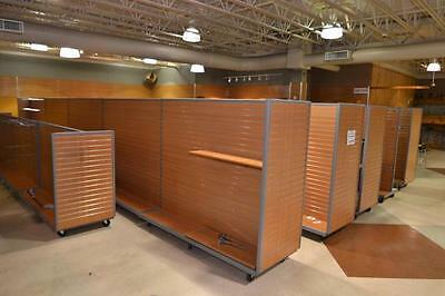 Slatwall Gondola Shelving Unit Store Fixture on wheels. 2 sided unit.