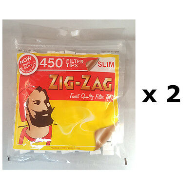 2 x 450 Zig Zag Slim Cigarette Filter Tips - Resealable Bag - Total 900 Tips