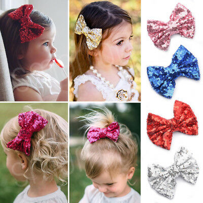 Baby Girls SEQUINED BOW Alligator Hair Clip Glitter Cute Hairband Accessories