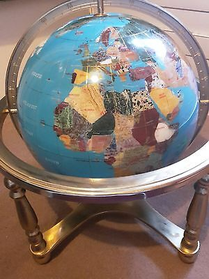 "12""/30cm Handmade Precious Gemstone World Globe 19"" High /48cm largest available"