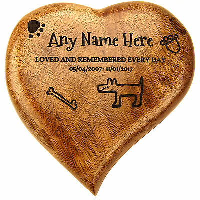 Heart Shaped Wooden Pet Dog Urn Ashes Cremation Box Compartment Personalised
