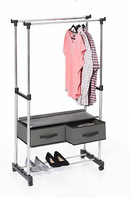 Hanging Garment Double Clothes Rail Display Stand with Canvas Drawers
