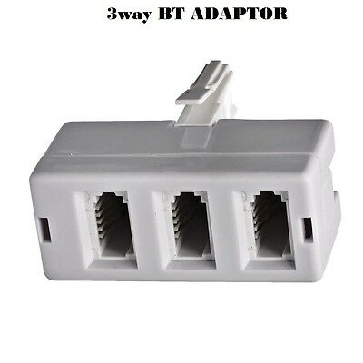 BT 3 Way Telephone Socket Triple Way Phone Adapter Land Line Converter Splitter