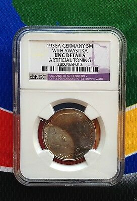 NGC UNC 1936 A  WW2 5 Mark 90% SILVER German Third Reich Coin