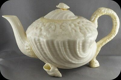 Belleek Neptune Teapot Green mark (damage to lid)
