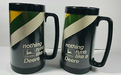 Vintage LOT of 2 John Deere Nothing Runs Like a Deere Insulated Thermo Serv Mugs