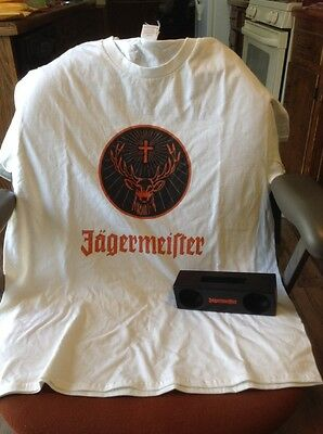 Jagermeister tshirt and wireless speaker for our phone