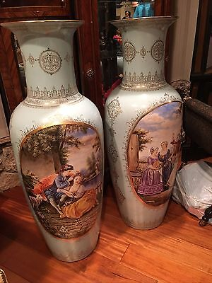 1875+- French- Huge Rare Pair Of Urns, Sky Blue...must See These..