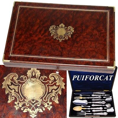 Superb Antique French PUIFORCAT Sterling Silver 14pc Serving Utensil Set, Boxed