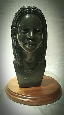Large African Female Bust Hand-carved stone sculpture