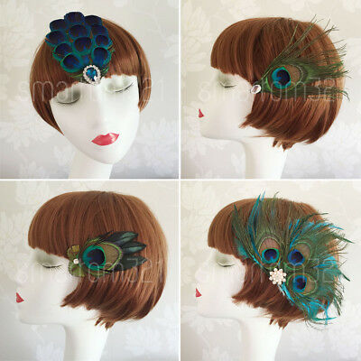 Peacock Feather Fascinator Hair Clip Wedding 20's Gatsby Party Vintage Headpiece