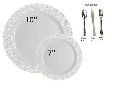 100 WHITE PLASTIC Party Plates Disposable Dinner Wedding Dishes ...