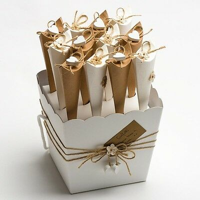 Confetti Cone Tray Powder White Vase Box Wedding Decorations Rustic Bioderadable