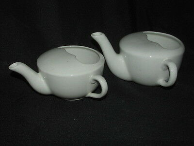 Antique 2x. Invalid Feeding MUGS / CUPS England White Porcelain Early 20th.C