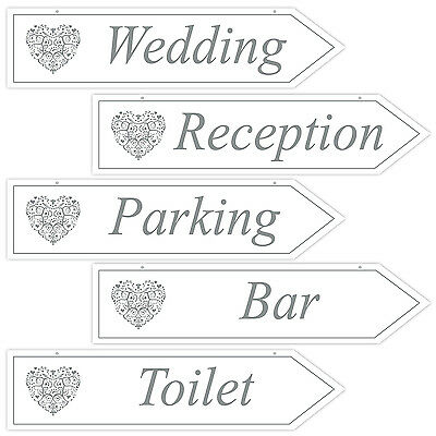 Wedding Signs Party Signage Directions (5) White & Silver Vintage Decorations