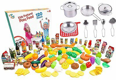 Ultimate Kitchen Play food for Kids - 120 pcs Plastic Play Food Set + Pots and -