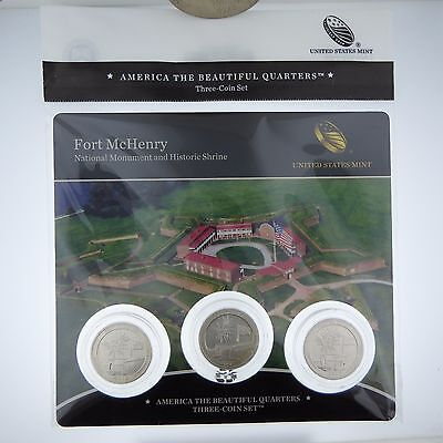 2013 US MINT 25C America the Beautiful FORT McHENRY Quarters Three-Coin Set