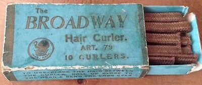 Antique Vintage The Broadway Hair Curlers, 10 With Box 1920's