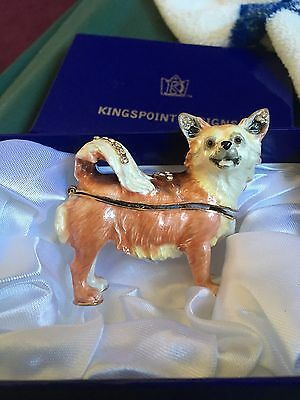 Kingspoint Fluffy Chihuahua  Pewter Bejeweled Hinged Trinket / Jewelry  Box