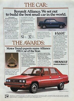 1983 RENAULT ALLIANCE DL Car of the Year Award Vintage PRINT AD