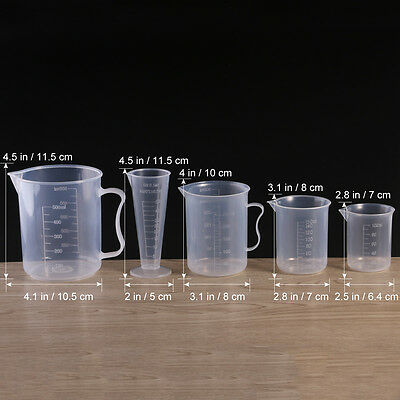 5pcs Kitchen Lab Test Plastic Graduated Measuring Beaker Cup Container Clear