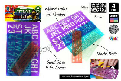 4pc Learning Stencil set Alphabet Letters Numbers Durable Plastic kids school