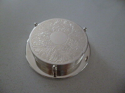 Vintage Silver Plate Coasters Set of 6 in Stand